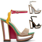 NEW LADIES HIGH HEEL BLOCK CUTOUT PLATFORM STRAPPY OPEN TOE SANDALS SIZES UK 3-8