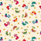 FESTIVE BIRDS -  RETRO CHRISTMAS by MAKOWER 100% COTTON FABRIC VINTAGE