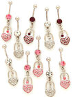 New Surgical Steel Novelty Dangle Belly Bar with Heart Padlock Design 14g