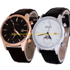 Classic Men's Stainless Steel Case Leather Band Calendar Dial Quartz Wrist Watch