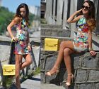Women Round Neck Sleeveless Flower Printing Retro Mini Vest Dress Sexy Fashion