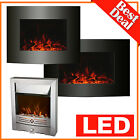 New Version Electric Fire Fireplace Log Or Pebbles Flame Effect Stove Heater