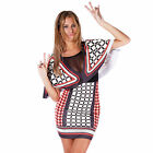 AJ67 Womens Celeb Kim Inspired Bohemian Geo print Mesh Insert Cape Bodycon Dress