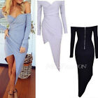 Sexy Strapless Off Shoulder Low Cut Plunge Long Sleeved Split Asym Bodycon Dress