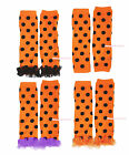 Halloween Orange Black Polka Dots Baby Girl Cotton Leg Warmer Ruffle Leggings