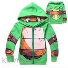 NEW Kids Boys TMNT Ninja Turtle outfit Hooded Top Jacket with zip size 3Yrs-8Yrs