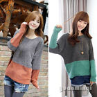 Autumn Winter Women Long Sleeve Patchwork Knit Casual Top Sweater Blouse Jumper