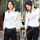 New Women Long Sleeve Button Down Business Office White Top T-Shirt Blouse S M L