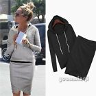 Autumn Women Casual Hoodies Top Blouse Jumper Sweatshirt Bodycon Skirt 2pcs Suit