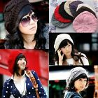 Lady Girl Cute Chic Warm Winter Beret Braided Baggy Knit Crochet Beanie Hat