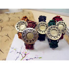 Fashion Womens Weave Leather Quartz Wrist Watch Round Dial Gift Classic New