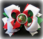Christmas Tree Bulb Initial Boutique Hair Bow Monogram Triple Layered Hairbow