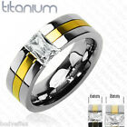 HOT MENS WOMENS SOLID TITANIUM SILVER GOLD PLATED RECTANGLE CZ WEDDING BAND RING