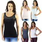 AK2 Womens Sexy Fitted Rhinestone Studded T-Shirt Tees Tank Top Vest Blouse