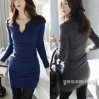 Pop Autumn Winter Women Long Sleeve Casual Slim Bodycon Party Sweater Mini Dress