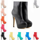 High Heels Winter Boots PU Leather Round Toe Corset  Shoes Stiletto Size 4 - 11