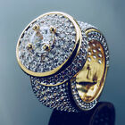 18K Gold ICED OUT Lab Simulated Diamond Band Micro-Pave Mens Bling Pinky Ring