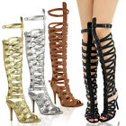Women Gladiator Knee High Sandals Strappy Stilleto Party Heel