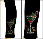 REGULAR OR PLUS SIZE LEGGINGS Embellished Rhinestone Xmas Martini Cocktails