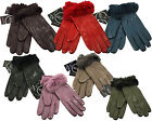 Luxurious Soft 100% Genuine Leather Fleece Lined Faux Fur Cuff Gloves