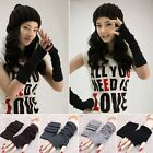 New Women Unisex Knitted Fingerless Gloves Soft Warm Long Mitten Warm Winter