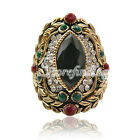 1PC Antique Copper Charm Alloy Gold Plated Crystal Jewelry Rings 30x22.5mm