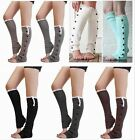 Hot Women's Crochet Knit Button Leg Warmers Lace Trim Toppers Boot Socks Cuffs