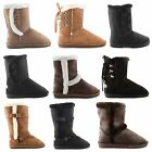 NEW LADIES WARM WINTER BUCKLE STUDDED FUR LINING ANKLE MID CALF BOOTS SIZE 3-8