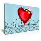 BANKSY - Love Hurts Graffiti Framed Printed Wall Art Canvas Box ~ Many Sizes