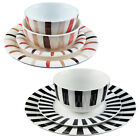 STRIPED PORCELAIN CROCKERY - DINNER/SIDE PLATE, RICE BOWLS AND CEREAL BOWL