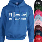 EAT, SLEEP, SWIM HOODIE ADULT/KIDS - PERSONALISED - TOP SWIMMING GIFT XMAS