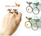 2 cute birds metal rings dual ring finger rings antique brass silver color RN590