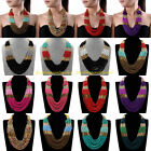 Fashion Multicolor Resin Seed Beads Layers Chunky Chain Statement Bib Necklace