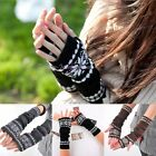Women's Fashion Arm Hand Warmer Mitten Long Fingerless Snowflake Winter Gloves