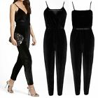 WOMENS LADIES VELVET STRAPPY WRAP OVER V NECK JUMPSUIT PLAYSUIT ALL IN ONE PARTY