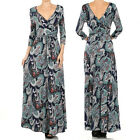 GREEN or RED/BLACK V Back PAISLEY Boho MAXI DRESS Jersey WRAP Travel S M L