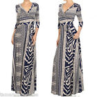 ECLECTIC Bohemian MIDNIGHT & TAN Wrap MAXI DRESS Jersey TRAVEL Boho Long S M L