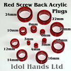 3mm to 24mm Red Acrylic Plug / Ear Tunnel