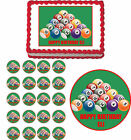Pool Billiards Edible Adult Birthday Cake Cupcake Toppers Party Decorations $8.75 USD