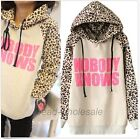 Women NOBODY KNOWS Print Hooded Leopard Casual Sweatshirt Hoodies