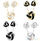 Charm Womens Twined Wire Pendant Round Ball Necklace Earrings Party Jewelry Sets