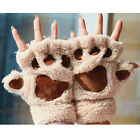 New Women Girl Cat Claw Paw Plush Soft Winter Half Finger Warm Fingerless Gloves