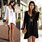 Sexy Women Summer Casual Hollowed Sleeve Party Long Shirts Cocktail Mini Dress