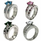 Size 5-11 Sterling Silver Wedding Engagement Ring Pair Set Rhodium Halo Bridal