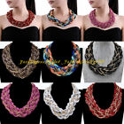 Fashion Gold Chain Multicolor Layers Print Knit Statement Chunky Bib Necklace