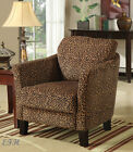 NEW JUNGLE LEOPARD or ZEBRA PATTERN FABRIC WOOD FRAME ACCENT CHAIR