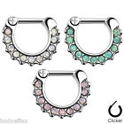 HOT WOMENS 3 COLOR LOT OF SURGICAL STEEL SEPTUM CLICKER OPALITE NOSE RINGS