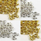 50pcs 6mm & 7mm Ring  Spring  Metal Bolt  Clasps - Gold & Silver Plated-choose