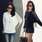 Trendy Design Lady Batwing Top  Loose Women Long Sleeve T-Shirt Blouse Top EWUK