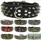 "Black 2"" Spiked&Studded Leather Dog Collars D-ring Buckle Lead Pit Bully Mastiff"